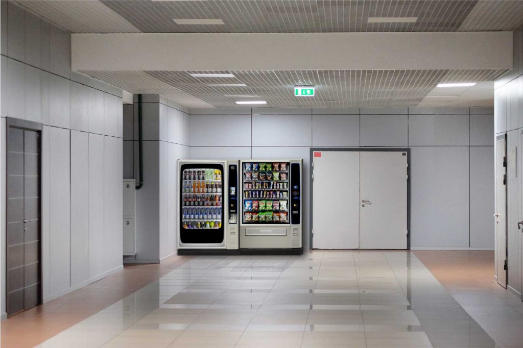 operated vending machines in workplace corridor